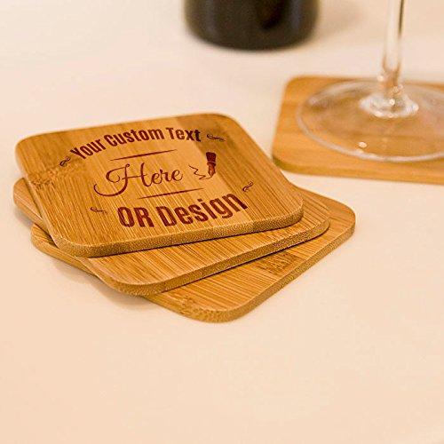 Personalized Bamboo Coasters Set-A Beautiful Elegant Gift Made Of Natural Bamboo