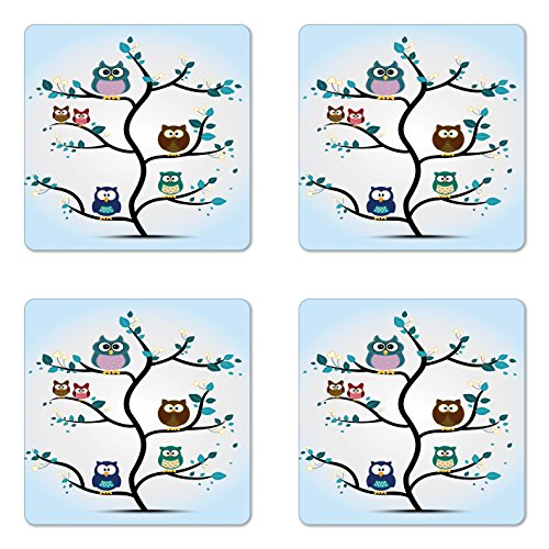 Owl Coaster Set of Four by Ambesonne Owl Family Perched on a Tree Love Grace Nocturnal Eyed Night Animals in the Nature Print Square Non-Slip Rubber Coasters for Drinks Multi