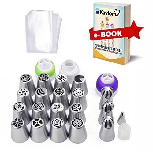 RUSSIAN PIPING TIPS for Flower Frosting Decorating  4 Couplers  ALL-IN-ONE 50 PC Cake Decorating Tips Set  16 Russian Nozzles3 Ball Tips1 Leaf Tip30 Pastry Bags w Guide Baking Decorating Kit