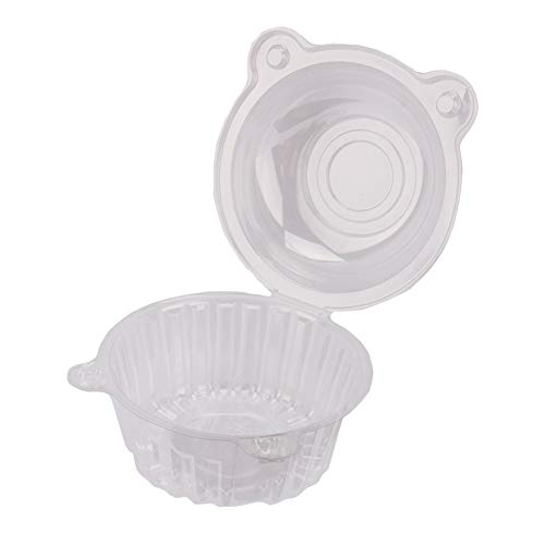 Cupcake Case 100pcs Large Cupcake Box Single Plastic Clear Salade Muffin Cake Pod Dome Case Cupcake Holder for Home Kitchen 112x80mm