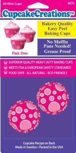 Pink Dot Mini Baking Cups 60pk by Cupcake Creations