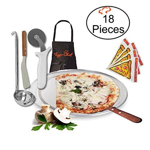TigerChef TC-20527 Homemade Pizza Making Kit 6-Piece Pizza Pro Set Includes 18 Single Portion Pizza Pan Pizza Screen Pizza Wheel Pizza Server Sauce Ladle Apron