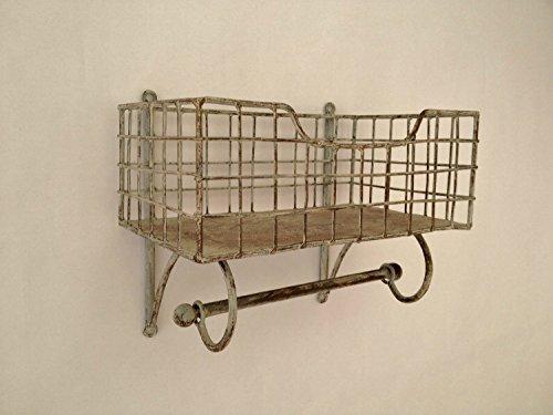 Wire Metal Shelf And Rail Unit Kitchen Wall Rack Basket Vintage Storage Industrial Organiser