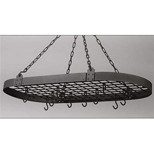 OKSLO 36 x 18 graphite oval pot rack with 12 hooks