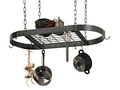 Rogar International Corporation 2644 Oval Pot Rack with Grid in Hammered CopperCopper