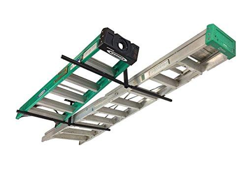StoreYourBoard Double Ladder Ceiling Rack Hi Port 2 Garage Storage and Organization Hanger Mount
