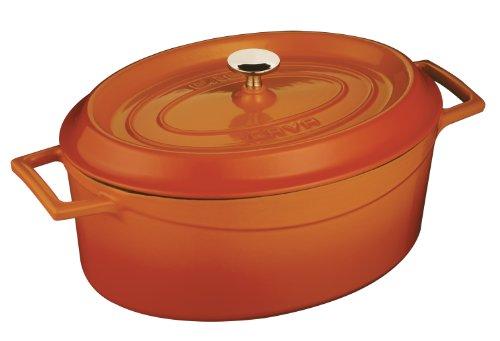 Lava Signature Enameled Cast-Iron Oval Dutch Oven - 4-14 Quart Orange Spice