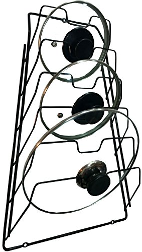 Wall Pot Lid Rack Holder Organizer for Kitchen Cabinet Black