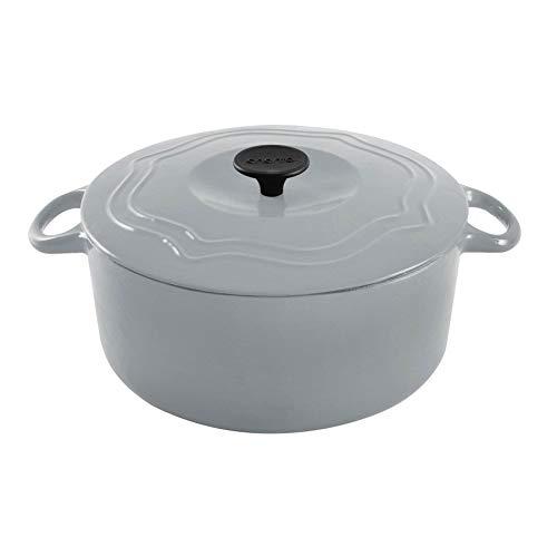 Chantal 5 Quart Porcelain Enameled Covered Cast Iron Dutch Oven Pot Fade Gray