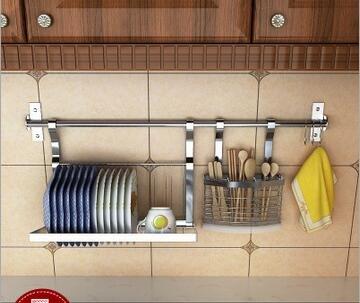 Wall Mounted Kitchen Cookware Organizer Stainless Steel 31-inch Bar  Flatware Utensils Caddydish rack