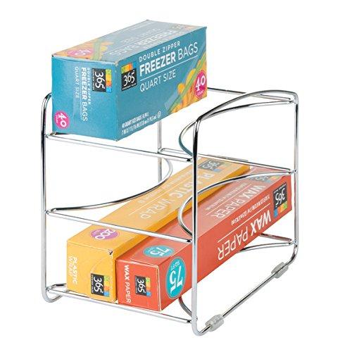 mDesign Kitchen Organizer Rack for Aluminum Foil Sandwich Bags Plastic Wrap - 3 Shelves Chrome