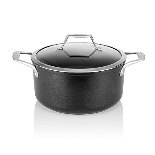 TECHEF - Onyx Collection - 5 quart Soup Pot with Glass Lid Coated with New Teflon Platinum Non-Stick Coating PFOA Free 5 quart Black