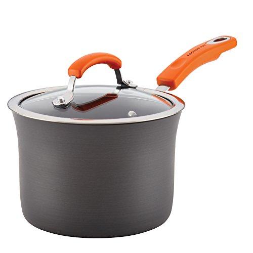 Rachael Ray Hard-Anodized Aluminum Nonstick 3-Quart Covered Saucepan Gray with Orange Handle