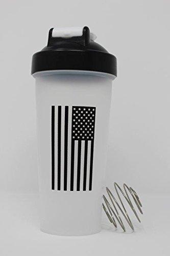 American Flag Black and White Classic Shaker Bottle Military Protein Mixer Bottle 28oz Supplement Shaker
