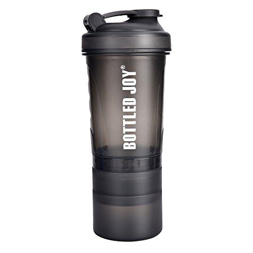 BOTTLED JOY Protein Shaker Bottle with 3-Layer Twist and Lock Storage 100 BPA-Free Leak Proof SportMixer Fitness Sports Nutrition Supplements Non-slip Mix Shake Bottle 20oz 600ml