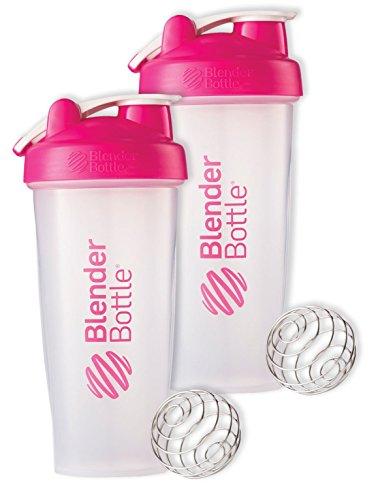 28 Oz Hook Blender Bottle Wwire Shaker Ball Bundle-Clear Pink-Pack of 2
