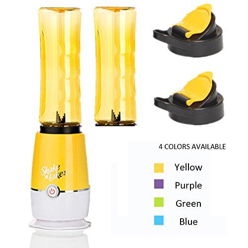 BYMEE Shake n Take Latest Version 3rd Generation Fruit Juice Smoothie Blender Mixer with 2 Sports Bottle BPA Free-Yellow