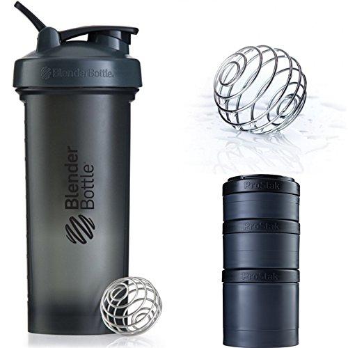 Blender Bottle Pro45  ProStak Expansin 3Pak  Gray Black  Full Black Colors