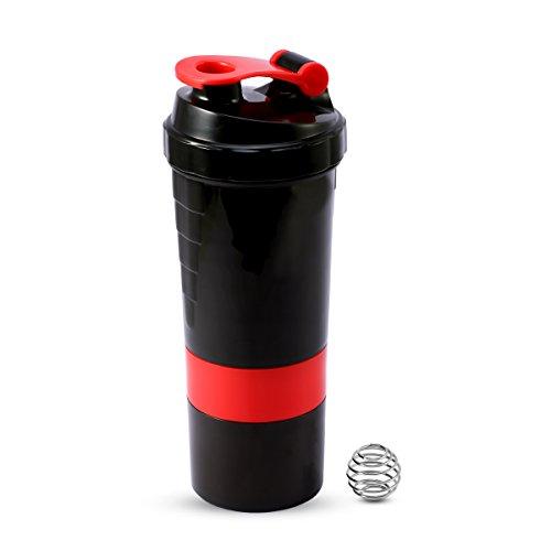 Shaker BottleProtein Shaker BottleMixer BottleBlender Bottle with Storage and Blender Ball for Protein MixesBlack