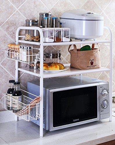 BGmdjcf Kitchen Racks Microwave Oven-Tier-Tier Kitchen Supplies  White 3 Storey With Basket