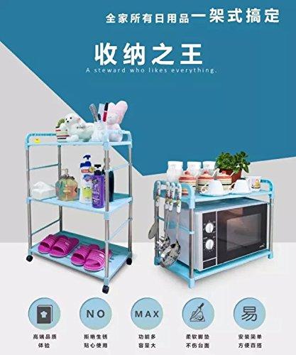 BGmdjcf Kitchen Racks Stainless Steel Bathrooms-Rack 304 Stainless Steel Microwave Oven Organize Rack  3  Blue Layer 563581Cm