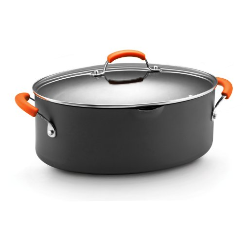 Rachael Ray Hard Anodized Nonstick 8-Quart Oval Pasta Pot with Glass Lid Orange