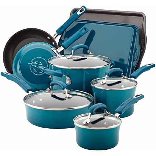 Rachael Ray Hard Enamel Nonstick 12-Piece Cookware Set Marine Blue
