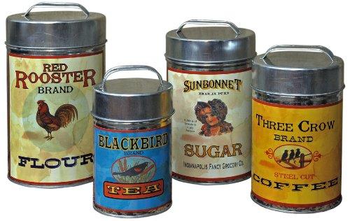 Vintage Canisters Sugar Flour Coffee Tea