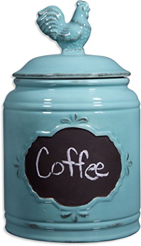 Ceramic Aqua Jar with Lid With Chalkboard With Rooser Finial Lid Small Canister 62 Oz Classic Vintage Design for Flour Sugar Cookies
