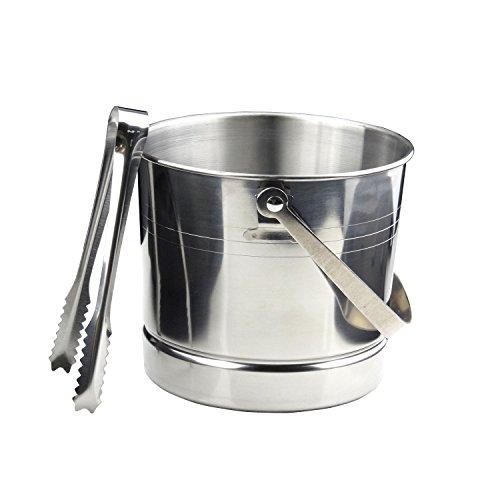1L Stainless Steel Portable Ice Bucket Beer Wine Cooler Barrel With Lid Tweezer