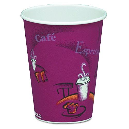 SOLO Cup Company 378SI Bistro Design Hot Drink Cups Paper 8oz Maroon 50 Per Bag Case of 20 Bags