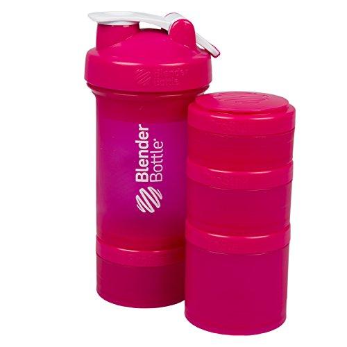 BlenderBottle ProStak 22 Oz Bottle with 6 Piece Twist n Lock Storage Set Pink