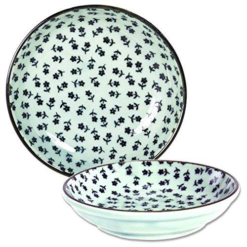 Set of 4 Pieces Japanese 4 Porcelain Mashiko Kobana Flower Soy Sauce Plate Dishes