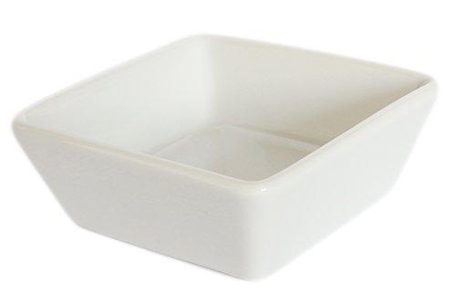 Set of 6 Amatahouse Elegant Square Sauce Dish Sushi Wasabi Plates Soy Sauce Dipping Bowls Royal Porcelain Classic White 2-34x2-34 4174