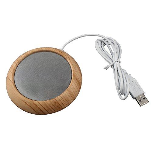 Myonly USB Desktop Mug Cup Warmer Electric Cup Heaters coffee Wood Mug Warmer for OfficeHome desk Light walnut