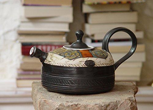 Handmade Pottery Teapot - Ceramic Tea Kettle - Earthen Tea Pot - Wheel Thrown Hand Painted Pot - Tea Maker - Functional Designer Pottery