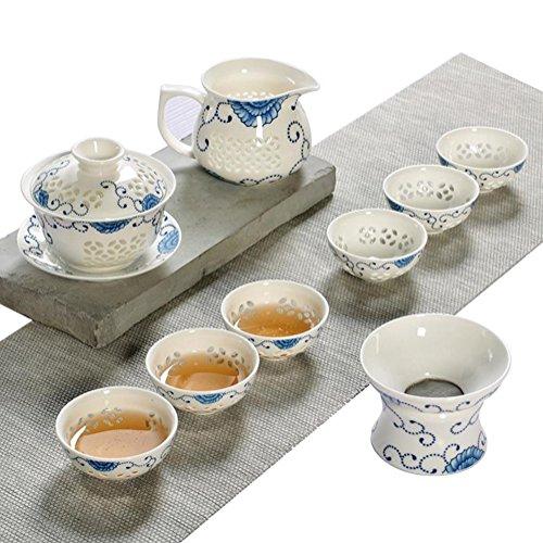 JKCOM Chinese KungFu Tea Set CeramicPorcelain Tea Service Handmade Teapot China Tea Cup translucent