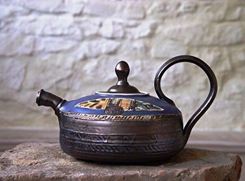 Pottery Teapot Ceramic Tea Pot Handmade and Hand Painted Clay Teapot Danko Pottery Artisan Pottery Wheel Thrown Pottery