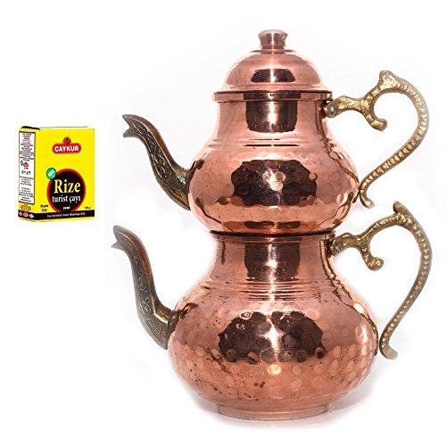 Turkish Traditional Handmade Handhammered Teapot Set Semaver Large 29cm-Copper