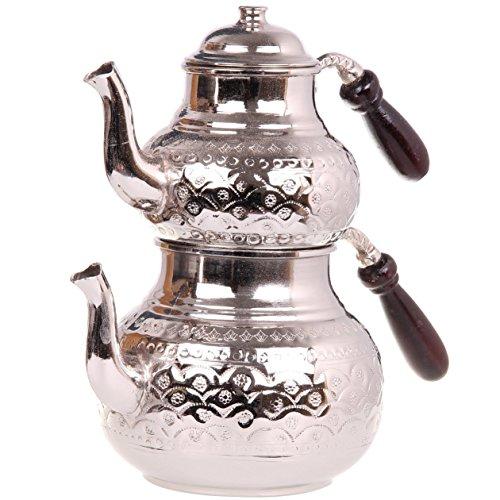 Turkish Traditional Tea Pot Handmade Handhammered Teapot Set Tea Maker Semaver Large 29cm Armut Silver