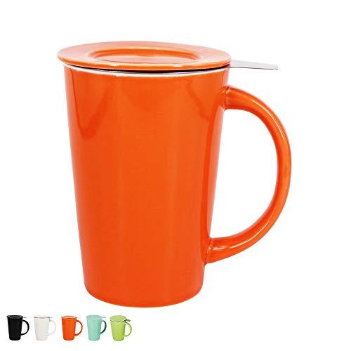 BPFY 12 Ounce Porcelain Tea Mug With Infuser and Lid Ceramic Coffee Cup Tea Cups for Coffee Loose Leaf Tea MilkOrange