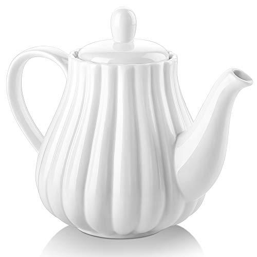 DOWAN Ceramic Teapot Pumpkin Shape 30 Ounces Tea Pot - White