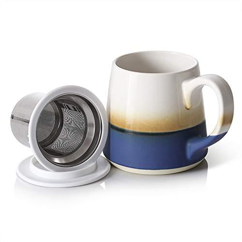 Dowan Ceramic Tea Mugs 16 OZ Tea Cups with Infuser and Lid - Blue