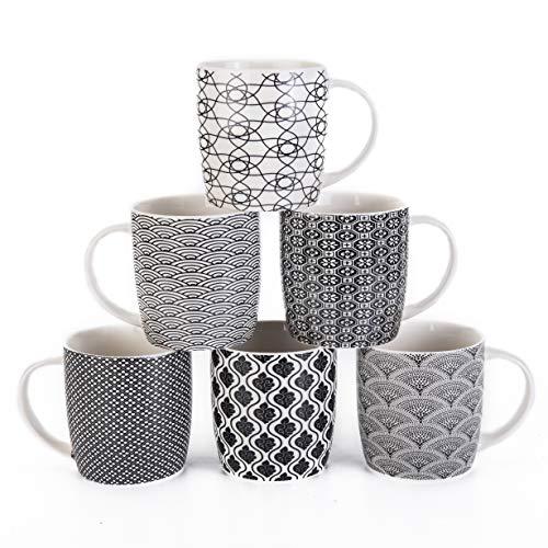 MACHUMA Set of 6 115 oz Coffee Mugs with Black and White Geometric Patterns Ceramic Tea Cup Set