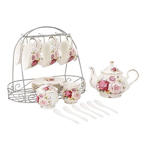ufengke 15 Piece European Ceramic Tea SetsBone China Coffee Set with Metal HolderColorful Rose Painting Pumpkin Coffee Tea Pot