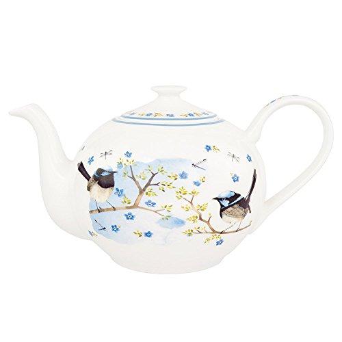 Ashdene Bone China Teapot Plume Perch Blue Wren 16342