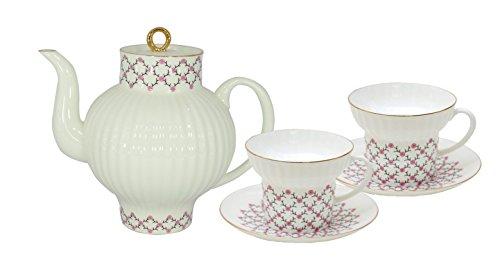 Bone China Tea Pot Wave Pink Net 27 floz800 ml and 2 Cups Lomonosov Porcelain Factory