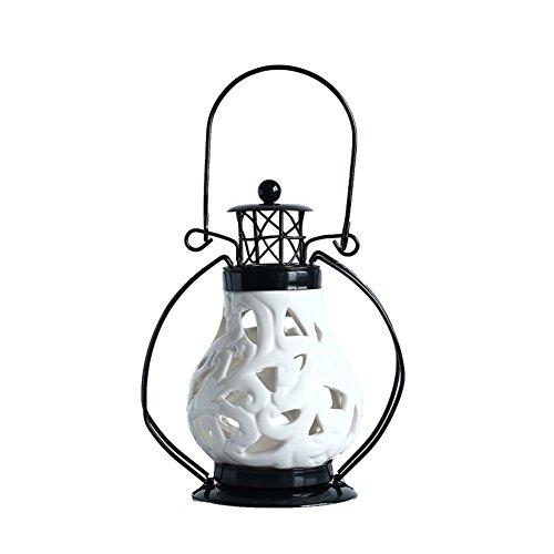 European ceramic Lantern Portable retro romantic wrought iron candle holder Creative home decorations ornaments Candle-E