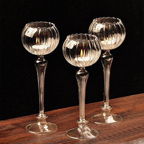 Kicode Europea-style Romantic Wedding Dinner Decor Crystal Glass Candle Holder Candlestick Light Goblet Style Flower Shape
