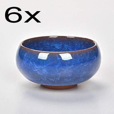 KBWL Hot Sale 6pcs Kung Fu Tea Cup Set Crackle Glaze Travel Chinese Porcelain Teacup Sets Ceramic Pottery 30ml Xmas Gift Halo Blue